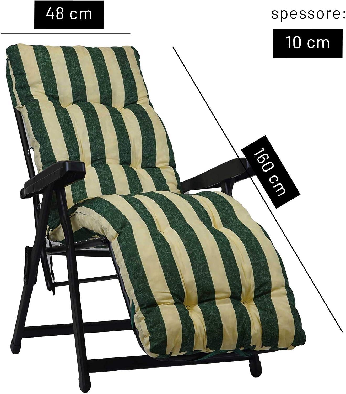 Disponibili Diversi Colori 160x45cmx10cm TECNOWEB Cuscino Imbottito per Sdraio con poggiapiedi - 100/% Made in Italy Ricambio Cuscino Ideale per Sdraio da Giardino