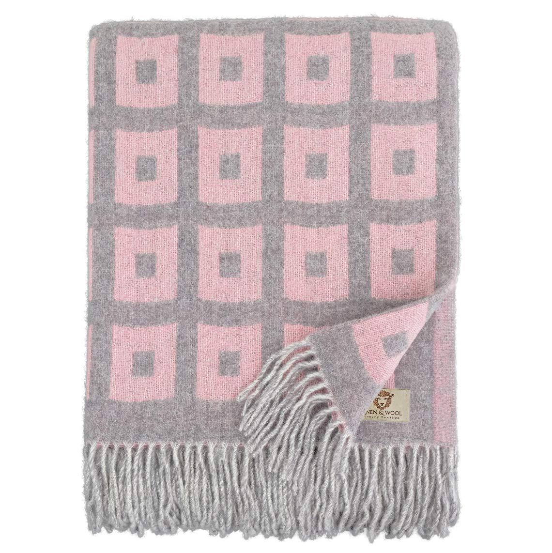 Linen & Cotton Weiche Warme Decke Wolldecke Merino Wohndecke Kuscheldecke Rome mit Quadratische Muster - 100% Weicher Merinowolle, Rosa Grau (140 x 200cm), Sofadecke Plaid  Überwurf Sofa Schurwolle