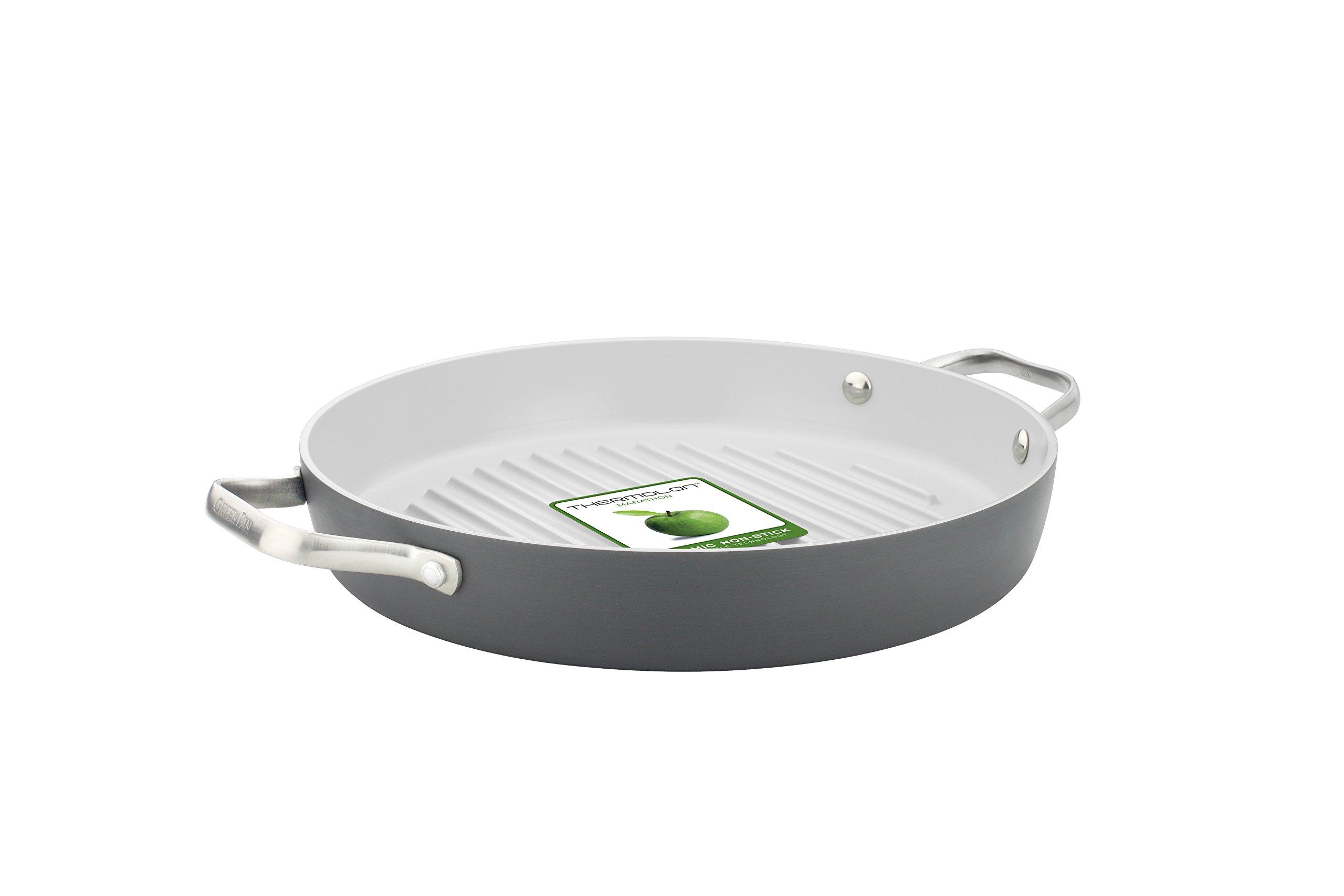 GreenPan Padova 11'' Ceramic Non-Stick Round Grill Pan with 2 Side Handles, Grey