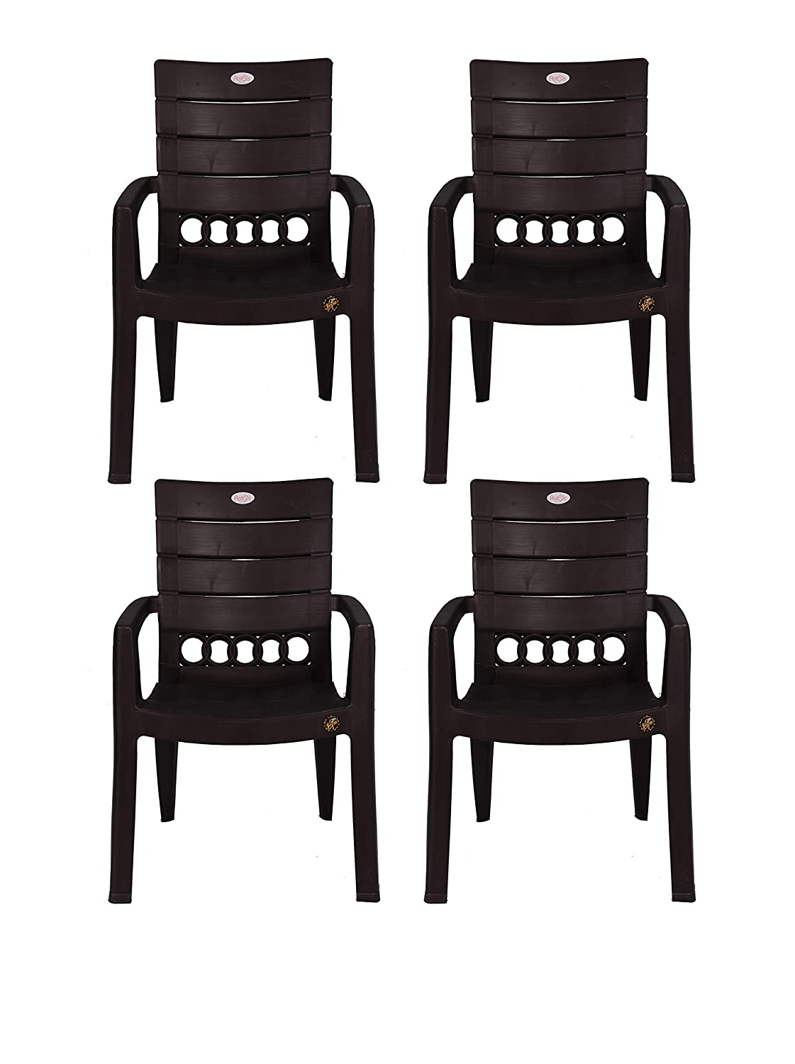 Petals Swiss Arm Chair (Brown, Set Of 4)