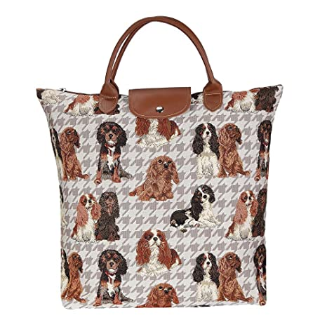 f1d294bcdb Image Unavailable. Image not available for. Color  Signare Dog Print Tan  Re-usable Tapestry Fold-able Shopping Bag ...