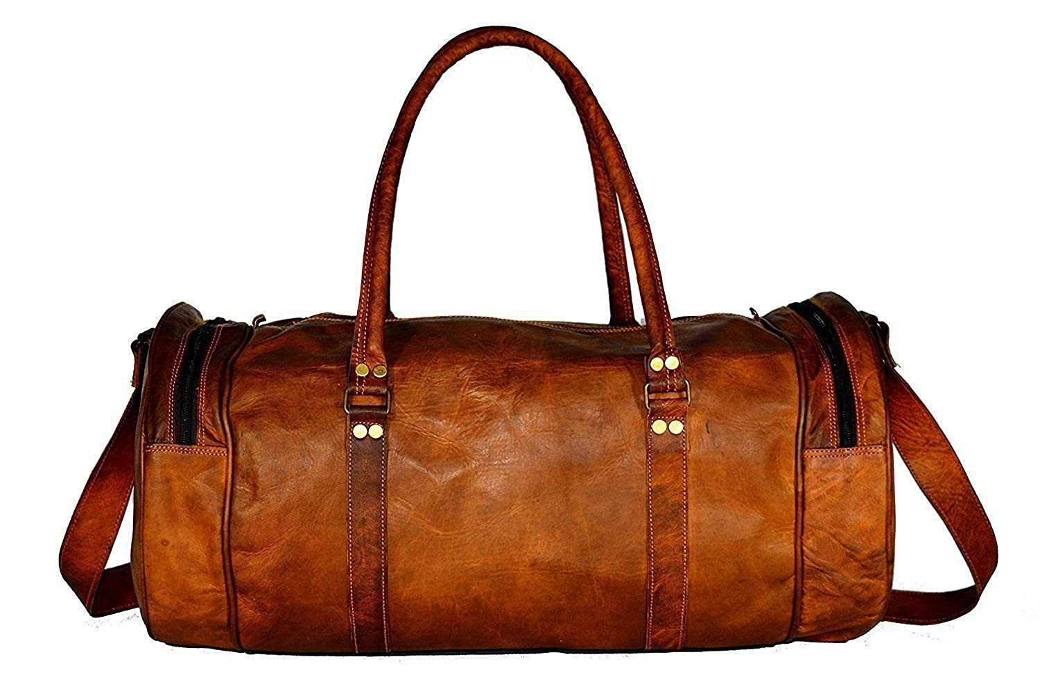 24 Inches Round Duffel Travel Duffel Gym Sports Overnight Weekend Leather Bag