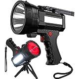 BIGSUN Rechargeable Spotlight, High High Lumens 100000 LED Flashlight with Red Lens, 10800mAh USB Power Bank, Left Side Flood