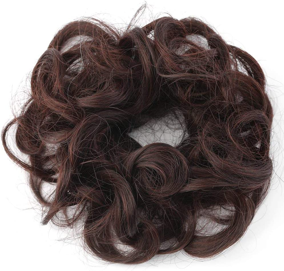 Deniseonuk Womens Tiara Satin Curly Messy Bun Hair Twirl Piece Band Rope Scrunchie Wigs Extensions Hairdressing 7 Color