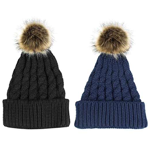 2 Pack Women Knitted Chunky Beanie Hat Faux Fur Pom Pom Beanie