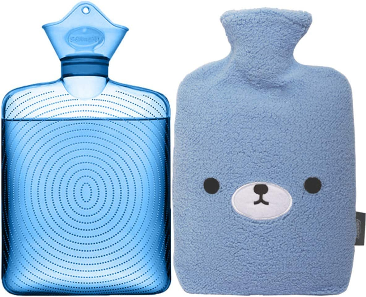 Samply Transparent Hot Water Bottle- 2 Liter Water Bag with Cute Fleece Cover, Bear Blue
