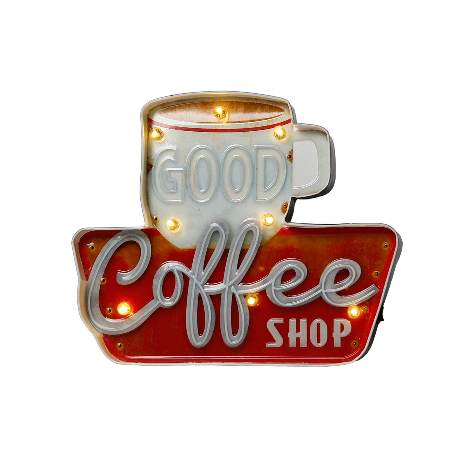 VerRich Coffee Wall Decorations Marquee: Metal Vintage Industrial Style Hanging Sign for