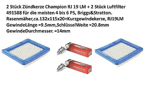2 unidades de Bujía Champion RJ 19 LM + 2 unidades filtro de aire ...
