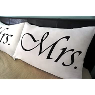 111717 Mrs and Mrs Pillowcases Hers and Hers Classic Queen Size Pillow Cases Soft White Brushed Microfiber Lesbian Wedding Gift for Gay Couple LGBT LGBTQ