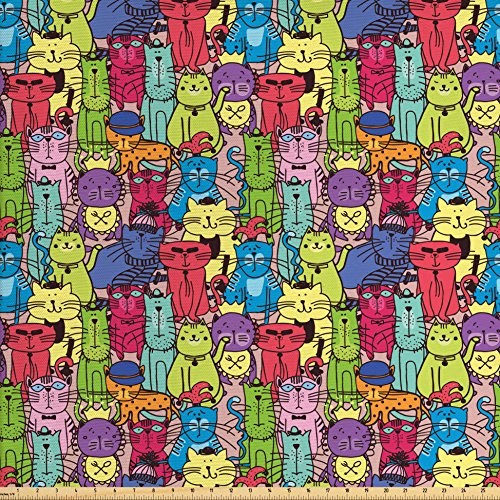 Cartoon Decor Fabric by the Yard by Ambesonne, Animals Drawn Colorful Cats with Hats Glasses Chlothes Comics Like Image , Decorative Fabric for Upholstery and Home Accents, Multicolor