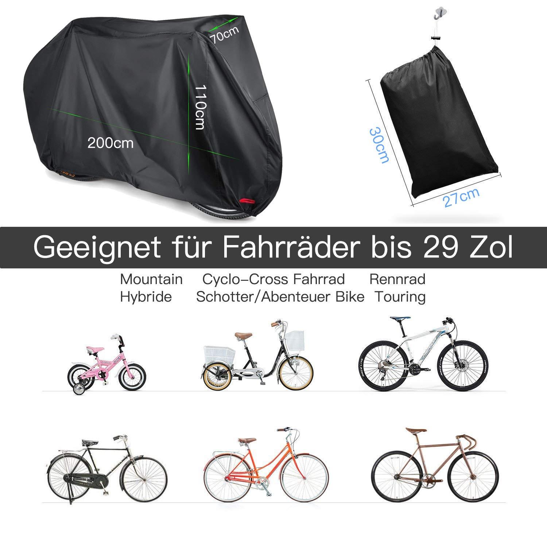 210D Oxford 200 x 110 x 70 cm Cubierta Impermeable de Bicicleta Funda Protectora Bici contra Lluvia Agua Polvo y Rayos Ultravioleta Funda para Bicicleta