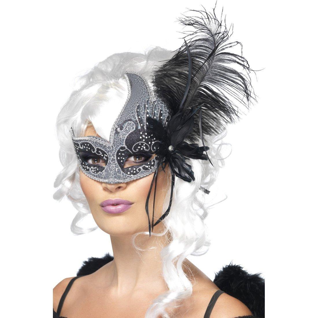 Masque de Bal Pour Femme Masque À Plumes Loup Vénitien Masque Avec Plumes Masque D'Opéra Masque de Carnaval