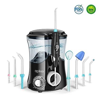 Irrigador Dental Professionale con 8 Boquillas Multifuncionales, Apiker Irrigador Bucal con Capacidad de 600ml, 10 Ajustes de Presión del agua, ...