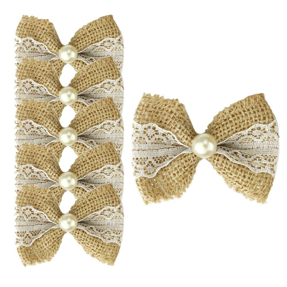25X Lace Jute Bows Hessian Embellishments Small Shabby Chic Rustic Wedding Craft Good shop us