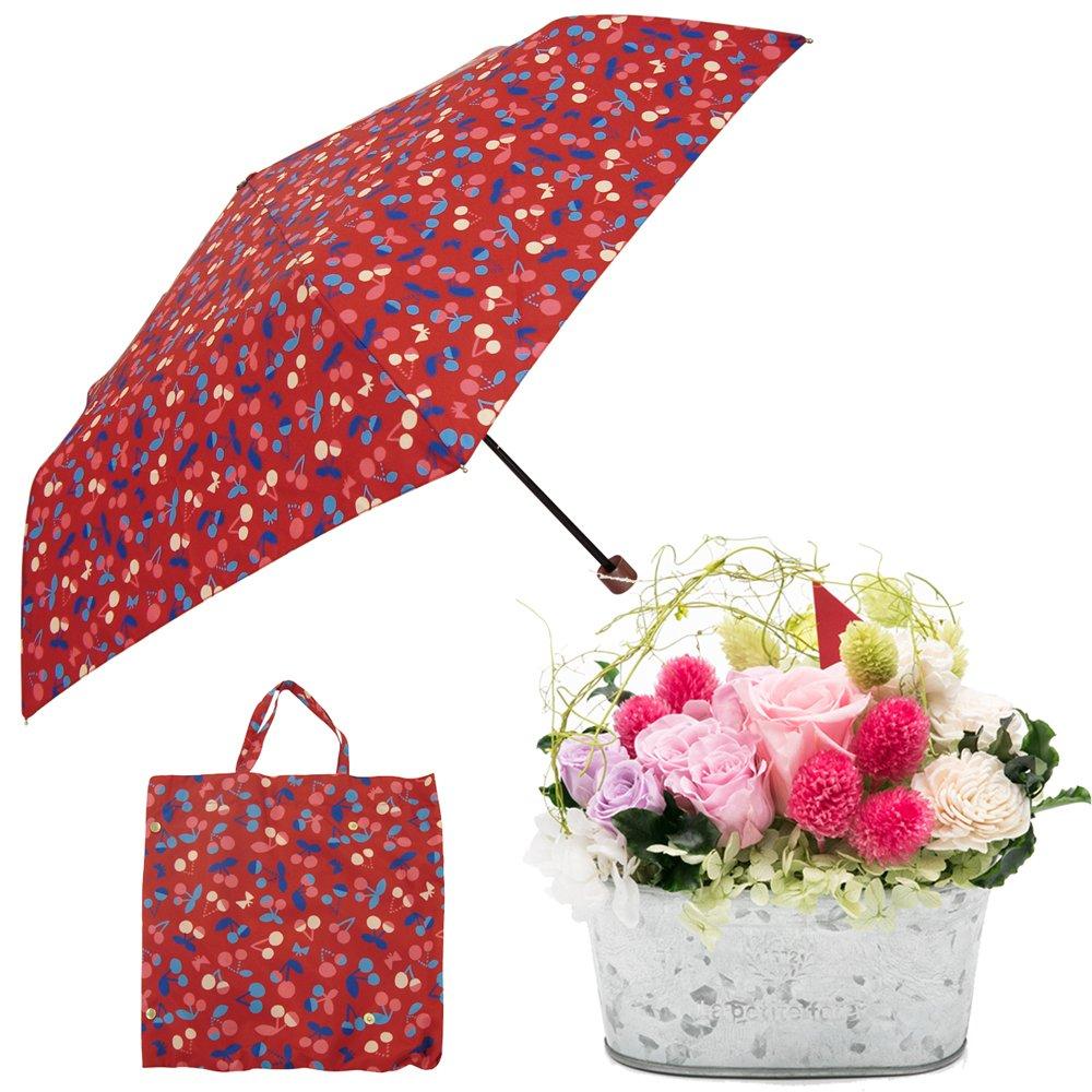 母の日ギフト プリザーブドフラワーと折り畳み傘のギフトセット B07CJ555VF お花:Lサイズ|チェリー チェリー お花:Lサイズ