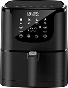 Ultima Cosa Air Fryer, 5.8QT Oil Free XL Electric Hot Air Fryers Oven, Programmable 7-in-1 Cooker with Preheat & Dryout, Equipped Digital Touchscreen and Nonstick Basket, English and French Manual , 1700W (BLACK)