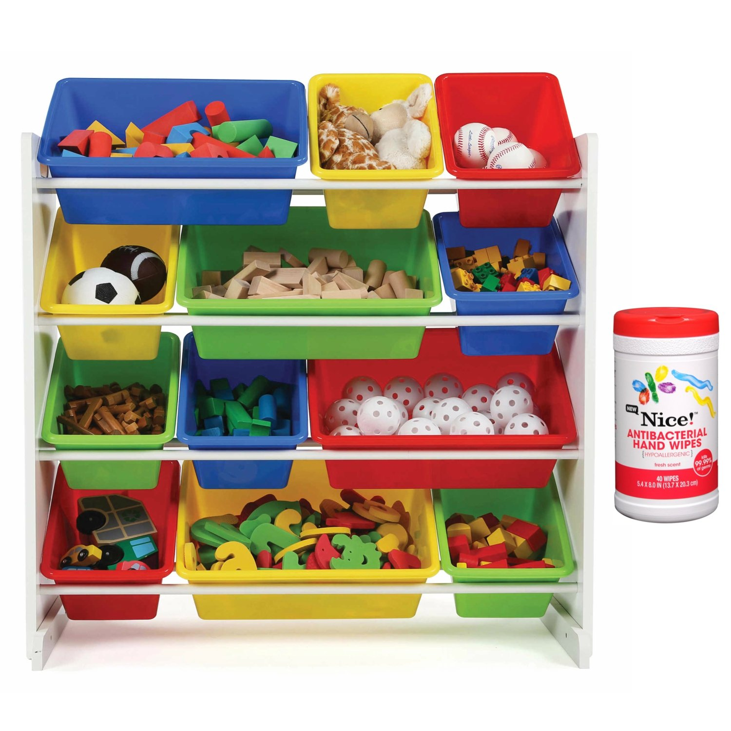 Tot Tutors Kids 12 Plastic Bin Toy Storage Organizer in White/Multicolor with Antibacterial Hand Wipes