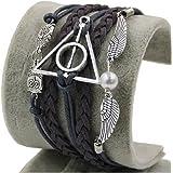 YAZILIND JKR Harry Potter Bracelet 3 en 1 avec pendentifs Hedwige, Vif d'or et logo Reliques de la Mort Triangle