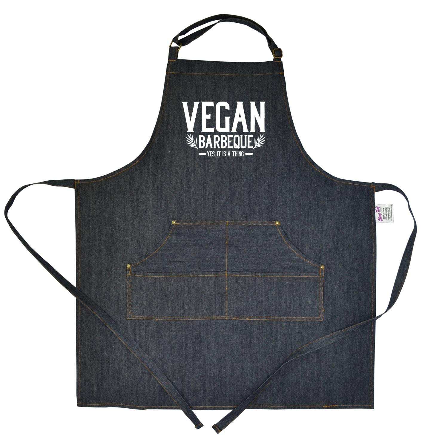 Bang Tidy Clothing Funny BBQ Denim Apron Novelty Cooking Gifts for Men Vegan Barbeque