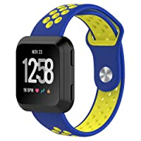 Fitbit Versa Bands, Soft Silicone Sport Band Replacement with Ventilation Holes Breathable Strap Bands for New Fitbit Versa Smart Fitness Watch Women Men(blue&yellow)