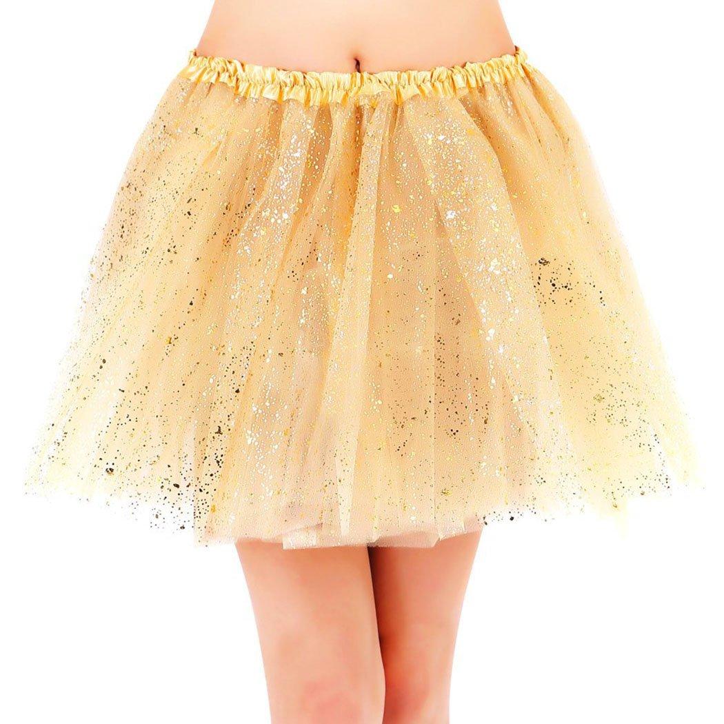 Women's Classic 3 Layered Tulle Sparkling Sequin Tutu Skirt, Golden