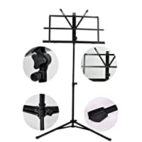 LC Prime Adjustable Foldable Music Script Sheet Note Stand Score Holder Mount Tripod Bag Iron, by