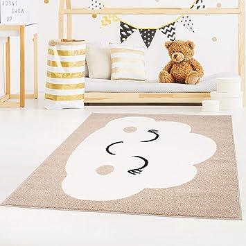 carpet city Bubble Kids Tapis pour Enfant à Poils Plats avec Motif Nuages  Rose, Vert Menthe, Bleu pétrole, Beige pour Chambre d\'enfant - 140 ...