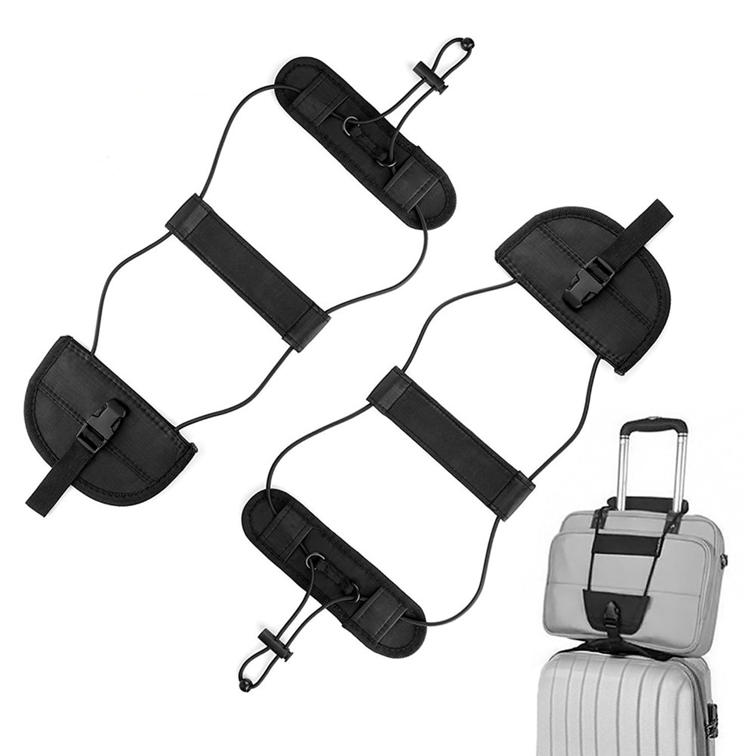 ONSON Bag Bungee, 2Pack Luggage Straps Suitcase Adjustable Belt - Lightweight and Durable Travel Bag Accessories