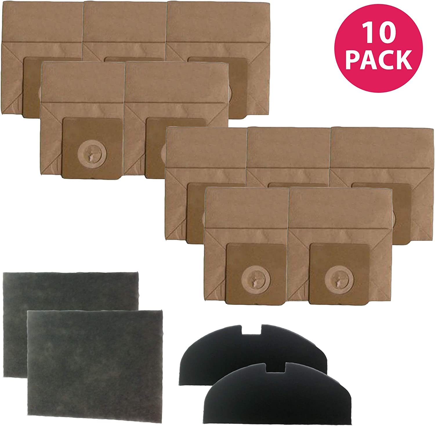 Crucial Vacuum Replacement Vacuum Bags - Compatible with Hoover R30 Vacuum Paper Bags Part # 40101002 - Fits Model S1361 Portable Canister Vacuum Cleaner - Premium for Capturing Debris - (10 Pack)
