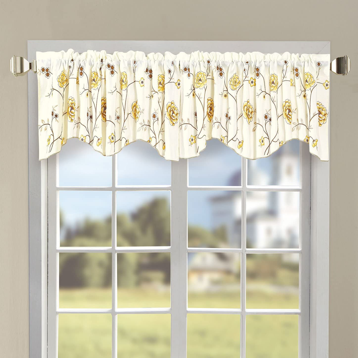 Home Soft Things Serenta Classic Embroidery Valance, 60 x 19 , Gold Spring Flowers