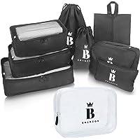 BRANZON ® Kleidertaschen Set 9-teilig – Packing Cubes inkl. Kulturbeutel durchsichtig – Koffer Organizer Set – Packtaschen für Rucksack – Schuhbeutel – Kulturbeutel transparent – Kulturbeutel