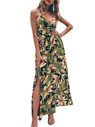 473661920087a Fashiomo Women's Sexy Backless Halter V Neck Maxi Dress Floral Split Beach  Long Dress at Amazon Women's Clothing store: