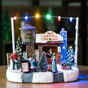 Impress Life Christmas Tree Farm House Village, Battery Operated LED Light Up, Scene Christmas Story Decoration, Mini Villa House Ornament Plant Pot Figurine Landscape for Moss Plant Pot