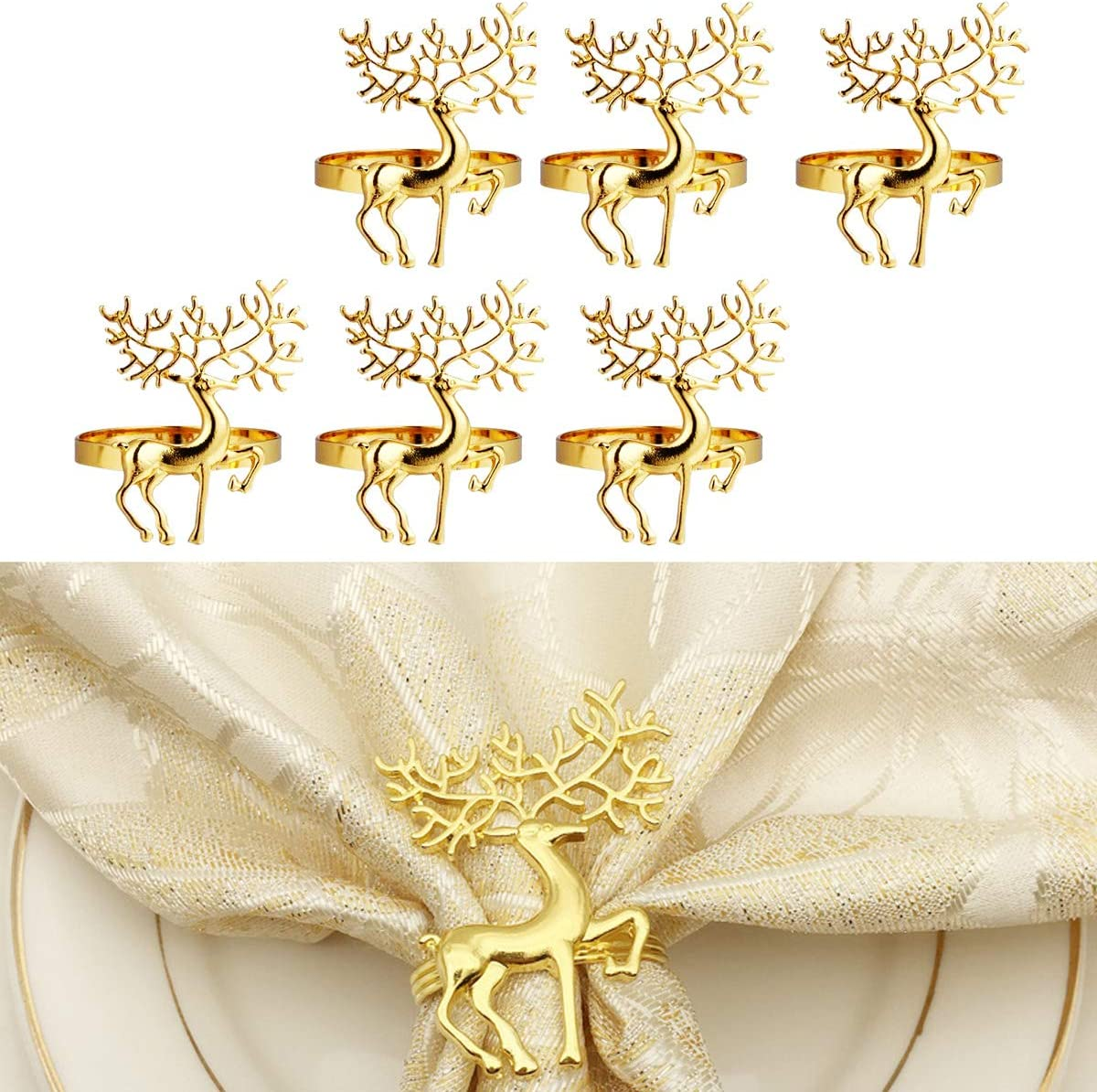 Thanksgiving AW BRIDAL Christmas Napkin Rings Easter Gold Reindeer Napkin Rings Set of 6 for Holiday Halloween
