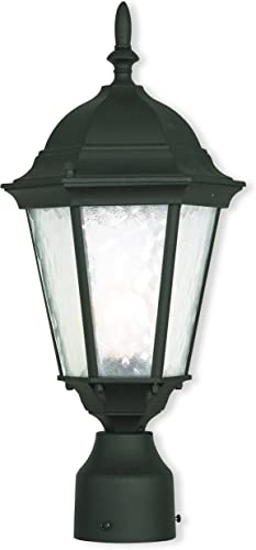 Livex Lighting 75464-14 Textured Black Post Mount with Clear Water Glass