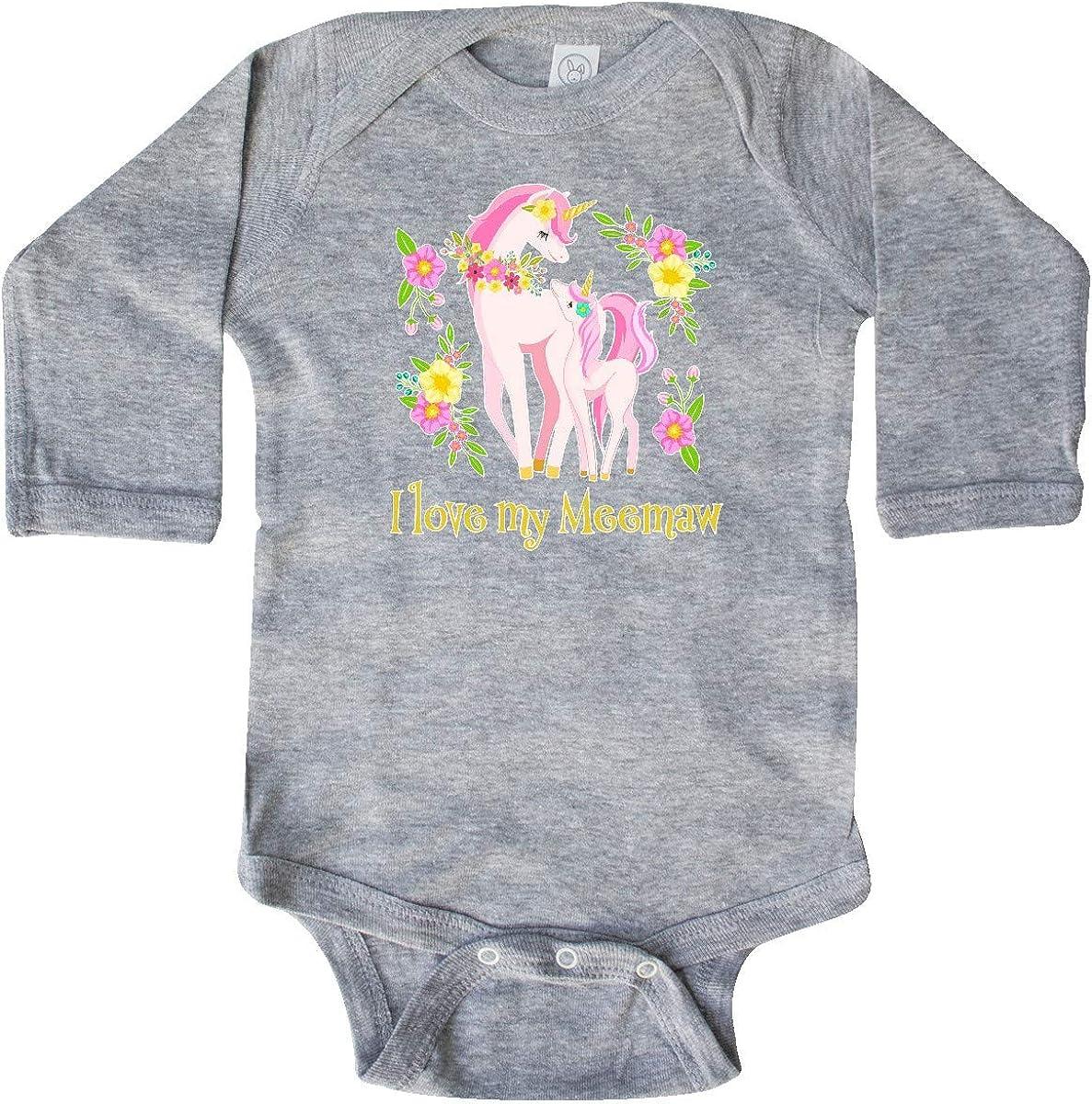 inktastic I Love My Meemaw Unicorn with Pink and Yellow Long Sleeve Creeper