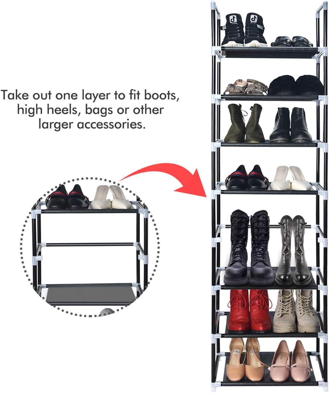 8 Tier Space Saving Storage Organizer Shoes Tower Rack Free Standing Closet
