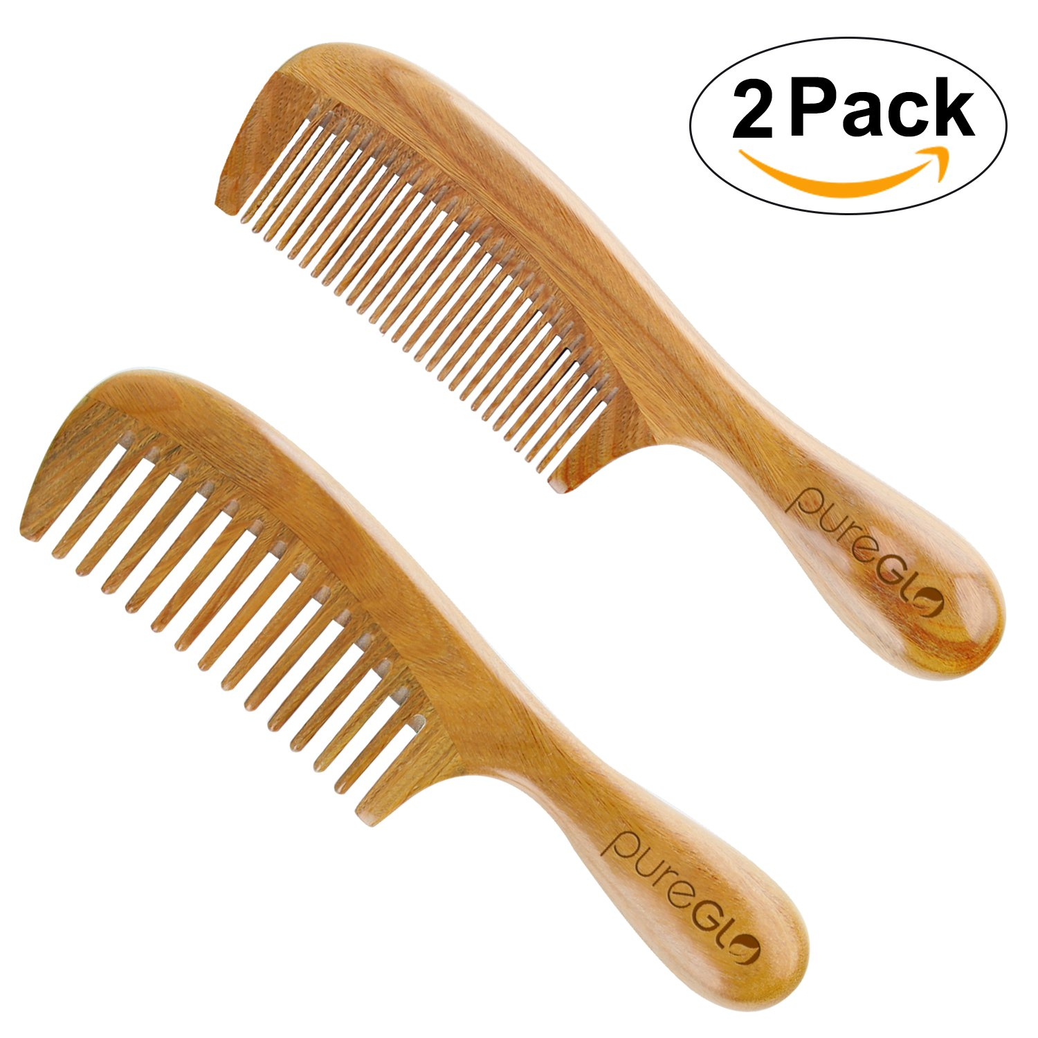 All Natural Hair Comb - pureGLO No Static Fine & Wide Tooth Comb Set - Detangling Wooden Combs for Men Women and Kids