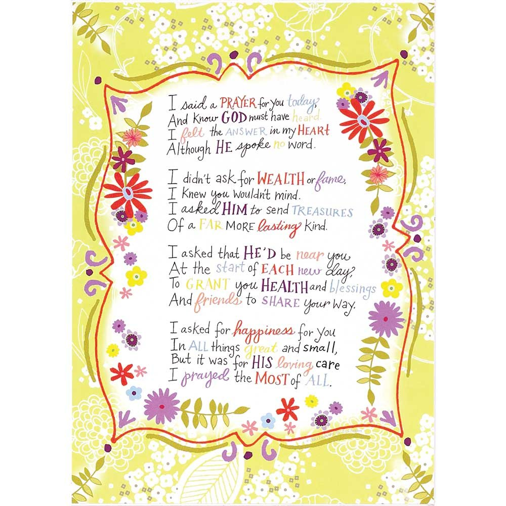 Dicksons I Said A Prayer For You Today Floral Muted Lime 8 x 11 Wood Wall Sign Plaque