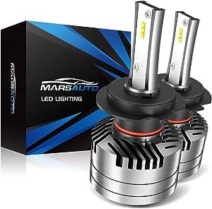 Marsauto H7 LED Headlight Bulbs, M2 Series Super Bright Head/Fog Light Bulbs with Fans, Holder Adapter Ip67 Csp Chips 10000LM 6000K Xenon White