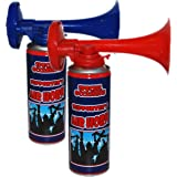 2 x CrazyGadget® Air Horn Gas Can Loud Hand Held Football Rugby Sport Festival Event Team Support RED BLUE