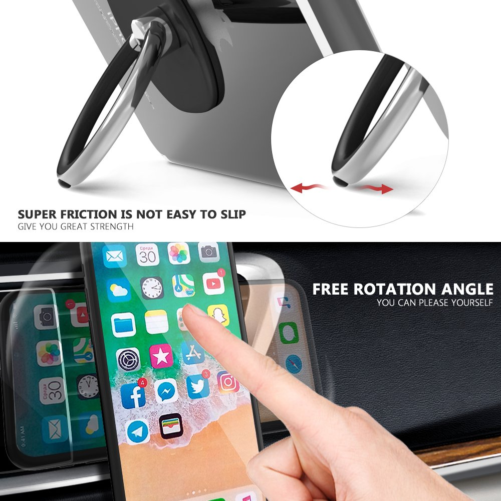 Cell Phone Ring Holder with Magnetic Car Mount, Ring Stand for Universal Car Air Vent Holder for All Phones With 2 Extra Metal Plates (1 ring holder+1 car mount)