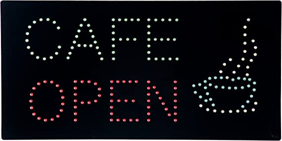 HIDLY LED Coffee Donuts Cafe Espresso Open Light Sign Super Bright Electric Advertising Display Board for Message Business Shop Store Window Bedroom 31 x 17 inches