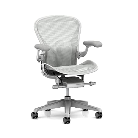 Herman Miller Aeron Ergonomic Office Chair with Tilt Limiter and Seat Angle Adjustable PostureFit SL, Arms, and Carpet Casters Medium Size B with Mineral Satin Aluminum Finish