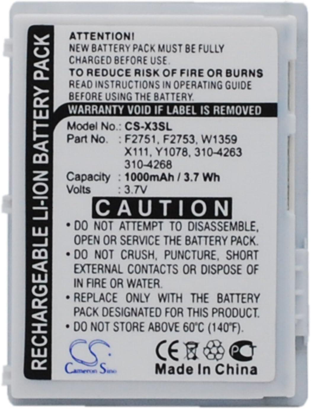 PDA, Pocket PC Battery(3.7V 1000mAh) Replace for DELL Axim X3, Axim X30, Axim X3i