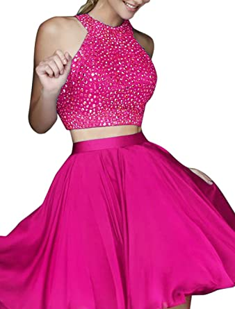 b6d142f5538 Hatail Short 2 Piece Beaded Prom Dress High Neck Chiffon Evening Gown for  Women