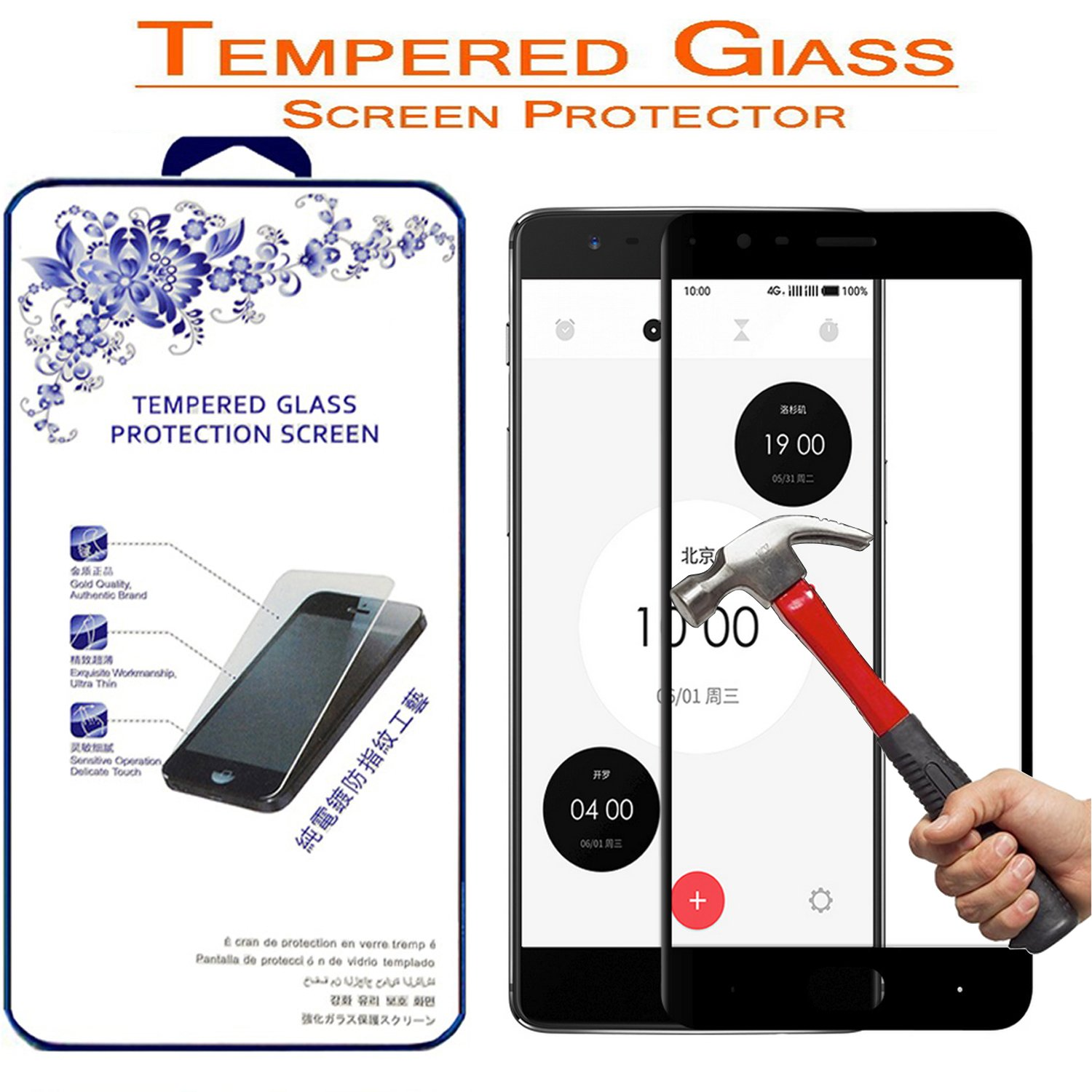Amazon.com: OnePlus 3 Full Cover Tempered Glass Screen Protector - Nacodex 0.3mm HD Round Angle, 9H Hardness Screen Cover for OnePlus 3 / OnePlus III: Cell ...
