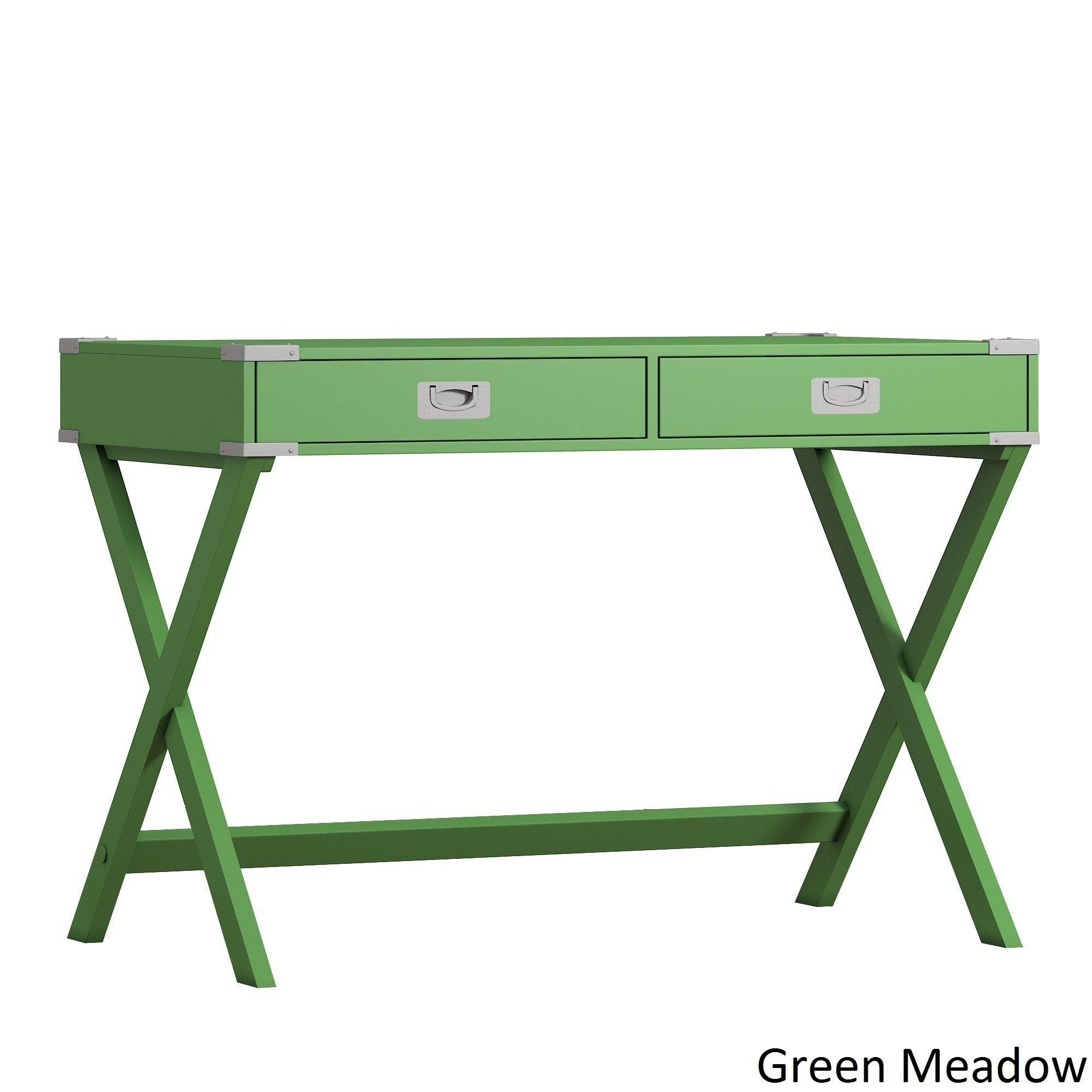 iNSPIRE Q Kenton X Base Wood Accent Campaign Writing Desk Modern Green Green Finish