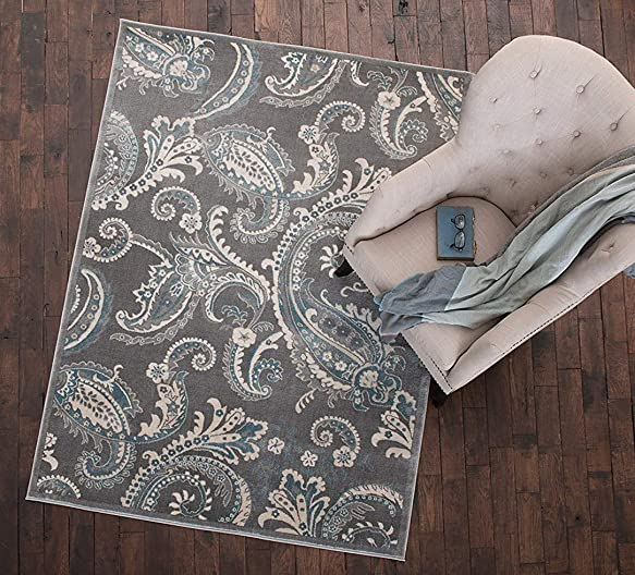 Mayberry Rugs Paisley Gray Transitional Area Rug