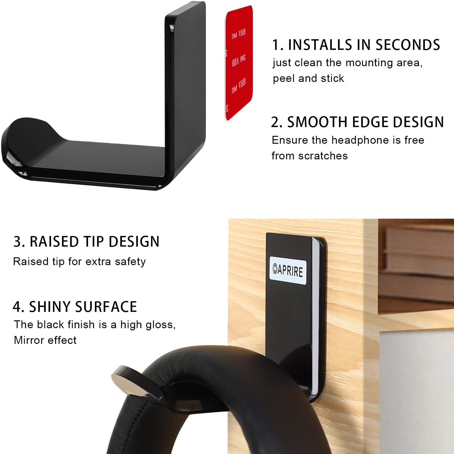 No Drilling Required OAPRIRE Universal Headphone Holder Hook with Cable Clip Headphone Headset Stand Hanger Wall Mount Set of 2 Save Desktop Space